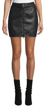 Paige Jamine Zip-Front Denim Skirt with Sparkle Coating