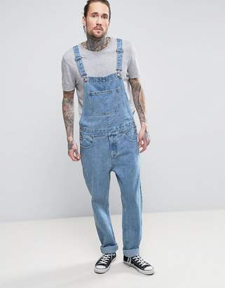 ASOS Denim Overalls In Mid Blue Wash $61 thestylecure.com