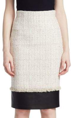 Alexander McQueen Wool Knit Leather Hem Pencil Skirt
