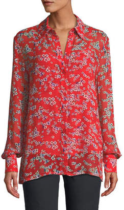 Escada Long-Sleeve Small Floral-Print Sheer Viscose Blouse w/ Tank