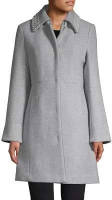Faux Pearl Collar Coat