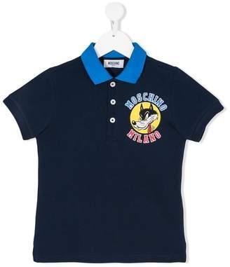 Moschino Kids cartoon wolf print piquet polo shirt
