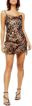 Topshop Leopard-Print Ruched Slip Dress