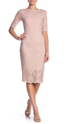 Marina 3/4 Sleeve Midi Slim Lace Dress