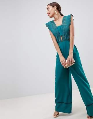 Asos Design Lace Top Jumpsuit With Wide Leg