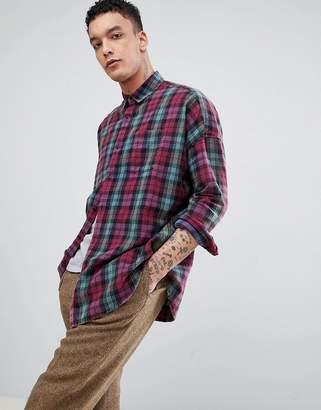 Asos Design DESIGN oversized drop shoulder check shirt with acid wash