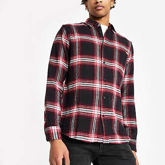 River Island Only and Sons burgundy check long sleeve shirt