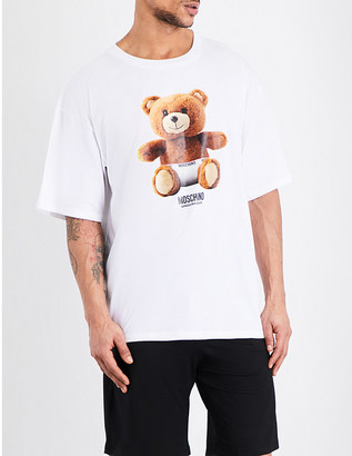 Moschino Teddy bear-print cotton T-shirt $84 thestylecure.com