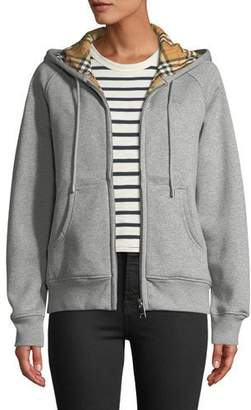 Burberry Check-Lined Zip-Front Hoodie Jacket