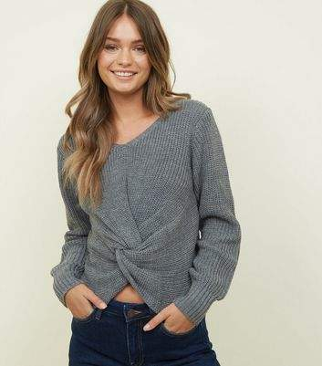 QED Grey Twist Front Jumper