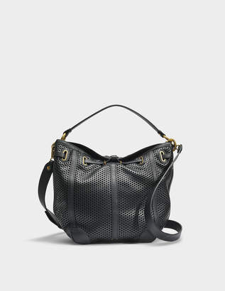 Jerome Dreyfuss Tanguy M Bag in Black Perforated Calfskin