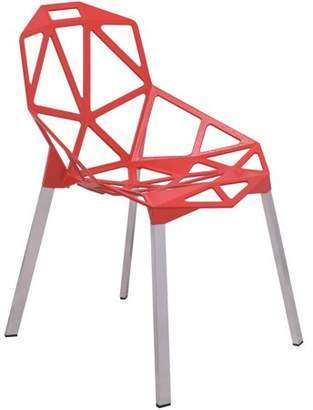 LeisureMod 3D Dalton Painted Iron Chair, Red