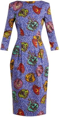 Graphic-print boat-neck dress