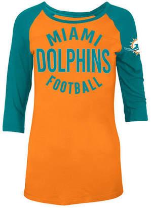 5th & Ocean Women's Miami Dolphins Rayon Raglan T-Shirt