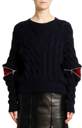 Alexander McQueen Zipped-Sleeve Cable Knit Sweater