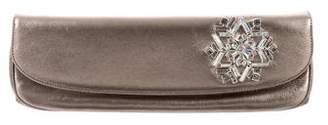 Judith Leiber Metallic Leather Crystal Clutch
