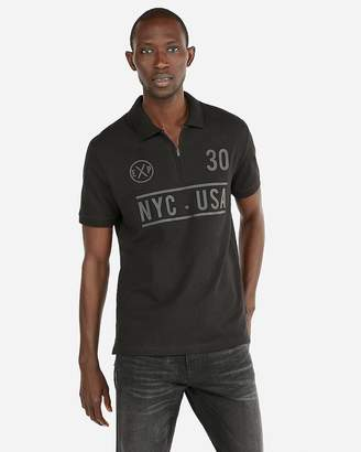 Express Raised Graphic Zip Front Stretch Polo