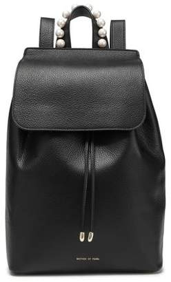 Mother of Pearl Lola Faux Pearl-embellished Textured-leather Backpack