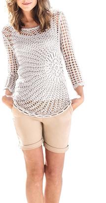 Marble Sunburst Crochet Sweater $147 thestylecure.com