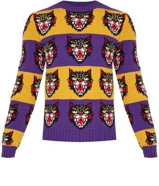 Gucci Angry Cat striped wool sweater