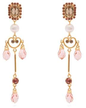 Erdem Crystal Embellished And Pearl Drop Lace Earrings - Womens - Pink