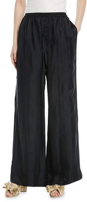 Marc Jacobs Elastic-Waist Wide-Leg Striped-Jacquard Pants