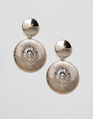 Missguided lion disc drop Earring