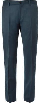 Etro Petrol Slim-Fit Mélange Stretch Wool-Blend Suit Trousers