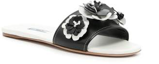 Prada Leather Flower Slides