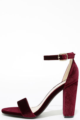 Something Sweet Burgundy Velvet Ankle Strap Heels $28 thestylecure.com