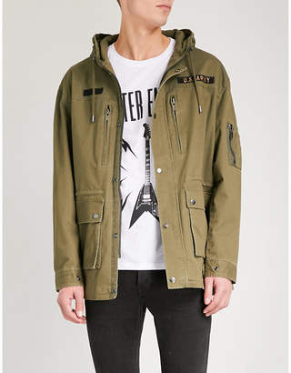 The Kooples Embroidered hooded stretch-cotton parka