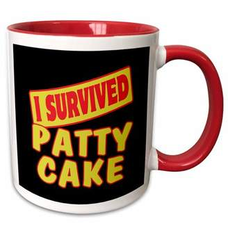 3dRose I Survived Patty Cake Survial Pride And Humor Design - Two Tone Red Mug, 11-ounce