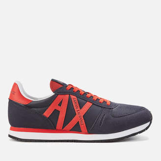 Armani Exchange Men's Logo Runner Style Trainers - Navy/Red