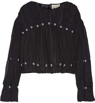 3.1 Phillip Lim - Embellished Pintucked Silk-chiffon Blouse - Black