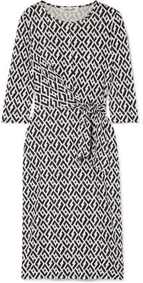 Diane von Furstenberg Pearl Tie-detailed Printed Silk-jersey Dress - Black