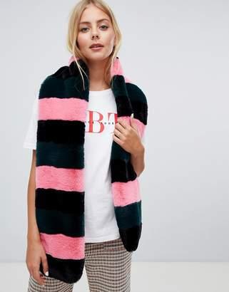 Miss Selfridge faux fur scarf in stripe