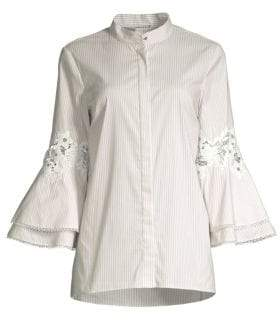 Elie Tahari Kaila Pinstripe Eyelet Lace Bell Sleeve Button-Down Shirt