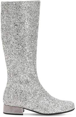 MonnaLisa Glittered Faux Leather Tall Boots