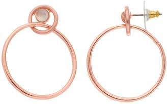 Rose Gold Tone Simulated Stone Double Drop Hoop Earrings