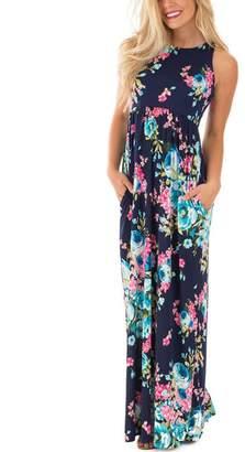 Roswear Women's Mock Neck Keyhole V Cut Out Blooming Floral Print Chiffon Dress