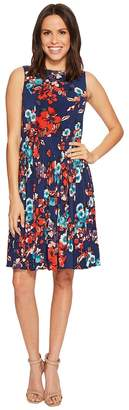 Adrianna Papell Botanical Soiree Floral Printed Pleated Fit and Flare Dress, Fully Lined Women's Dress
