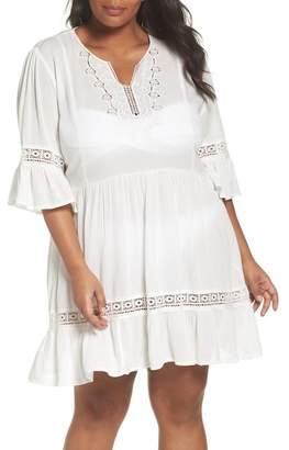 City Chic Embroidered Bell Sleeve Fit & Flare Dress (Plus Size)