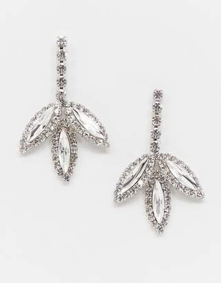 True Decadence crystal drop leaf earrings