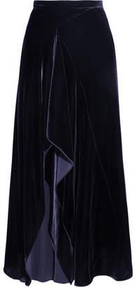 Roland Mouret Haxby Draped Velvet Midi Skirt - Navy