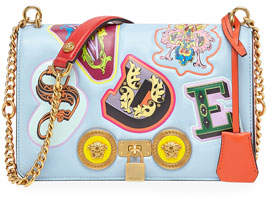 77141b61c73 Versace Icon Medium Leather Crossbody Bag with Stampa Lettering