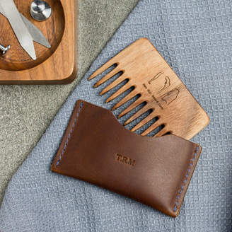 Man Gun Bear Personalised Wood Beard Comb And Leather Pouch