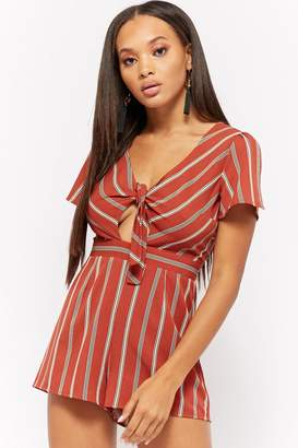 Forever 21 Striped Tie-Front Cutout Romper