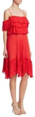 Halston Pleated Cold Shoulder Dress