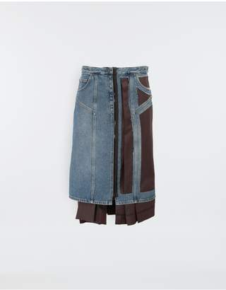 Maison Margiela Decortique Wool-Blend And Denim Skirt