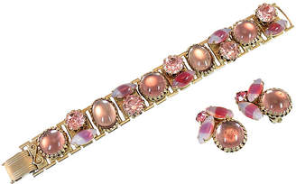 One Kings Lane Vintage 1950s Pink Art Glass Bracelet Set - Neil Zevnik